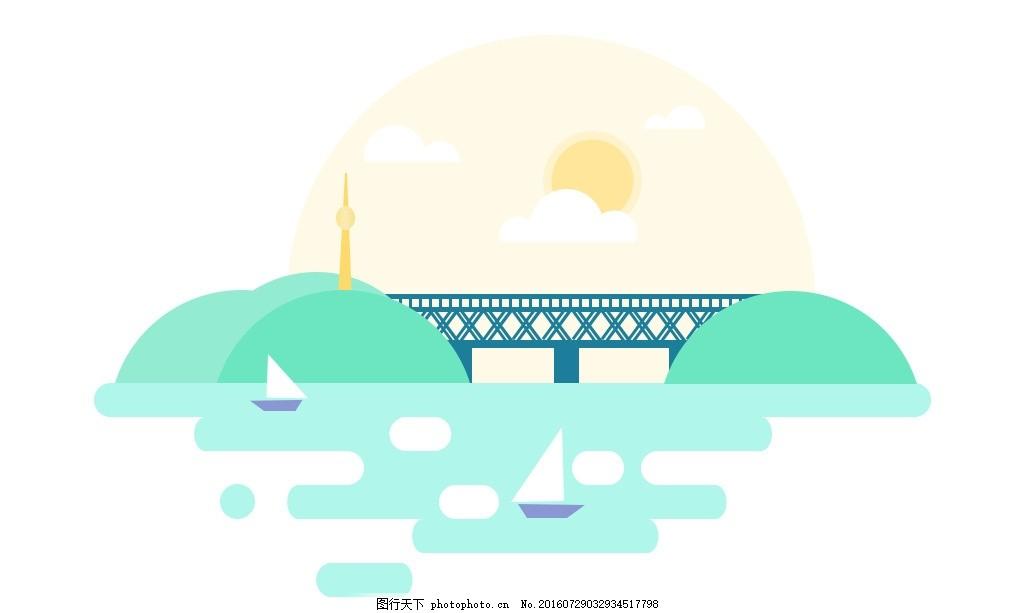扁平化卡通风景图 太阳 山水 桥梁 小船 河 橙色 绿色 网站