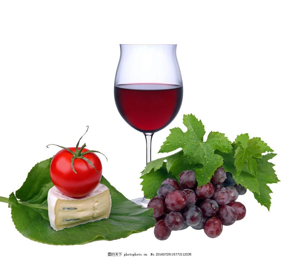 葡萄酒广告背景图片素材 叶子 葡萄 西红柿 酒杯 红酒 葡萄酒 饮料