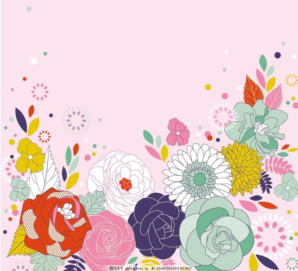 花纹花边 牡丹花 百花 幼儿园墙画 卡通矢量素材 婴儿服装图案 拼贴
