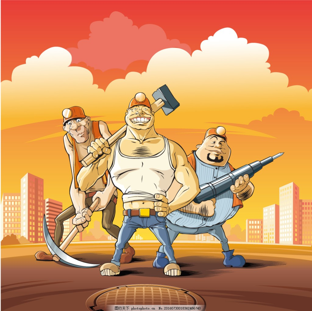 卡通建筑工人漫画