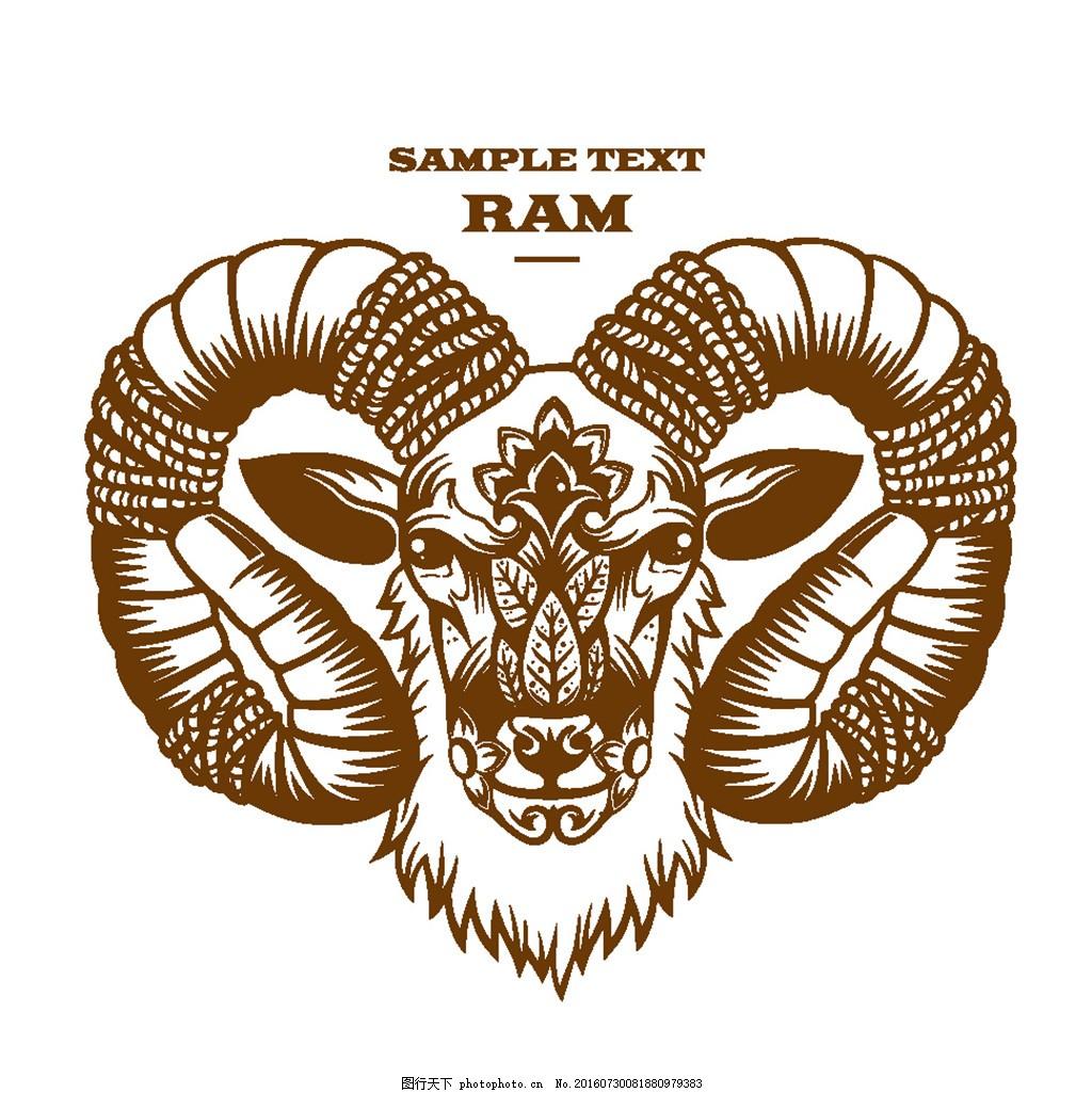 卡通山羊插画 卡通动物插画 动物漫画 羊头插画 花纹花边 底纹边框