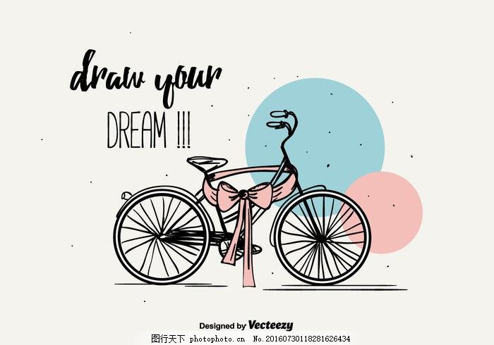 背景 自行车背景 手绘 涂鸦 自行车 丝带 元 女性组 插图 复古 可爱