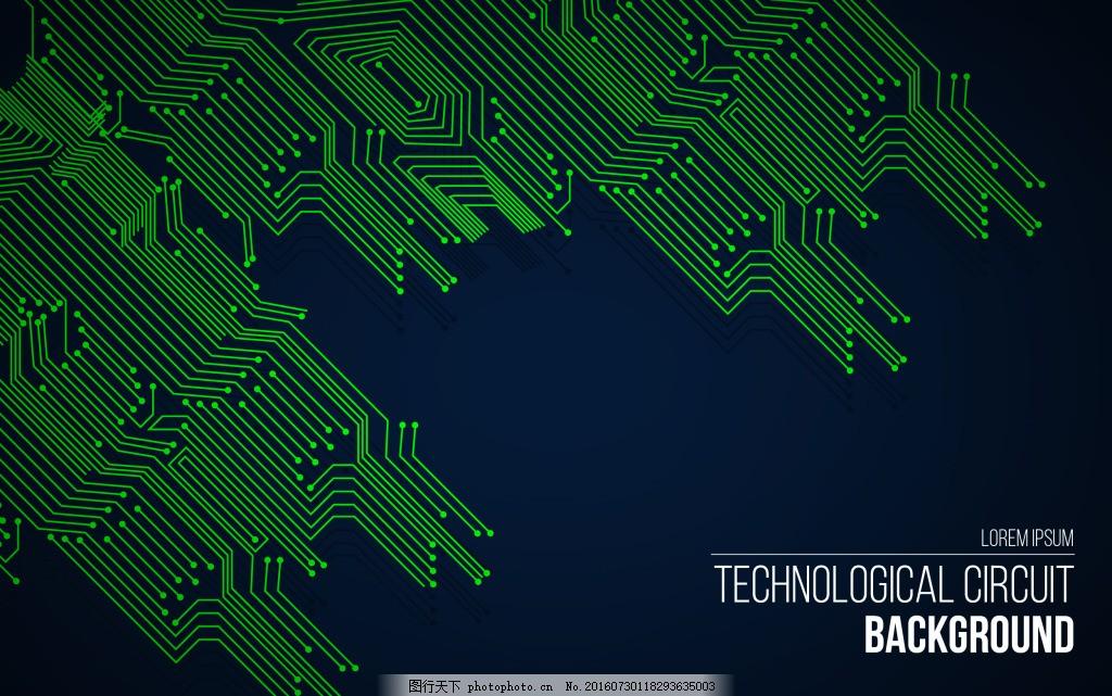 绿色电路背景 科技背景 技术背景 抽象背景 背景 矢量背景