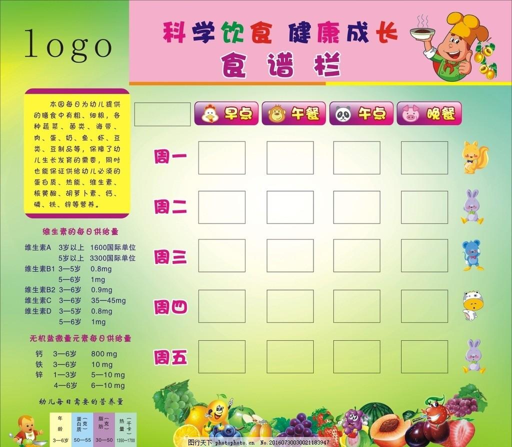 幼稚园食谱 幼儿园 食谱 早点 午餐 晚餐 食谱栏 设计 广告设计 海报