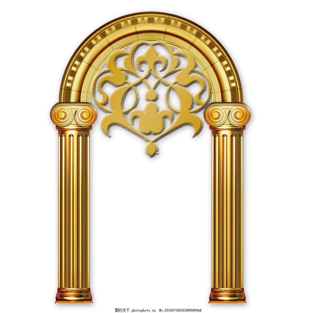 金色 教堂门 欧式 罗马柱 门