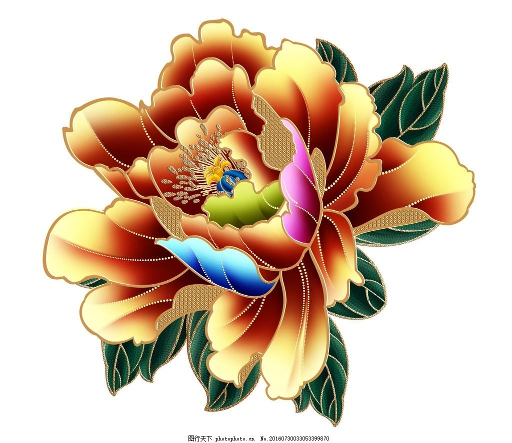 牡丹花 国花 啦叭花 花朵 花卉 月季 牡丹素材 手绘花朵 电脑绘画
