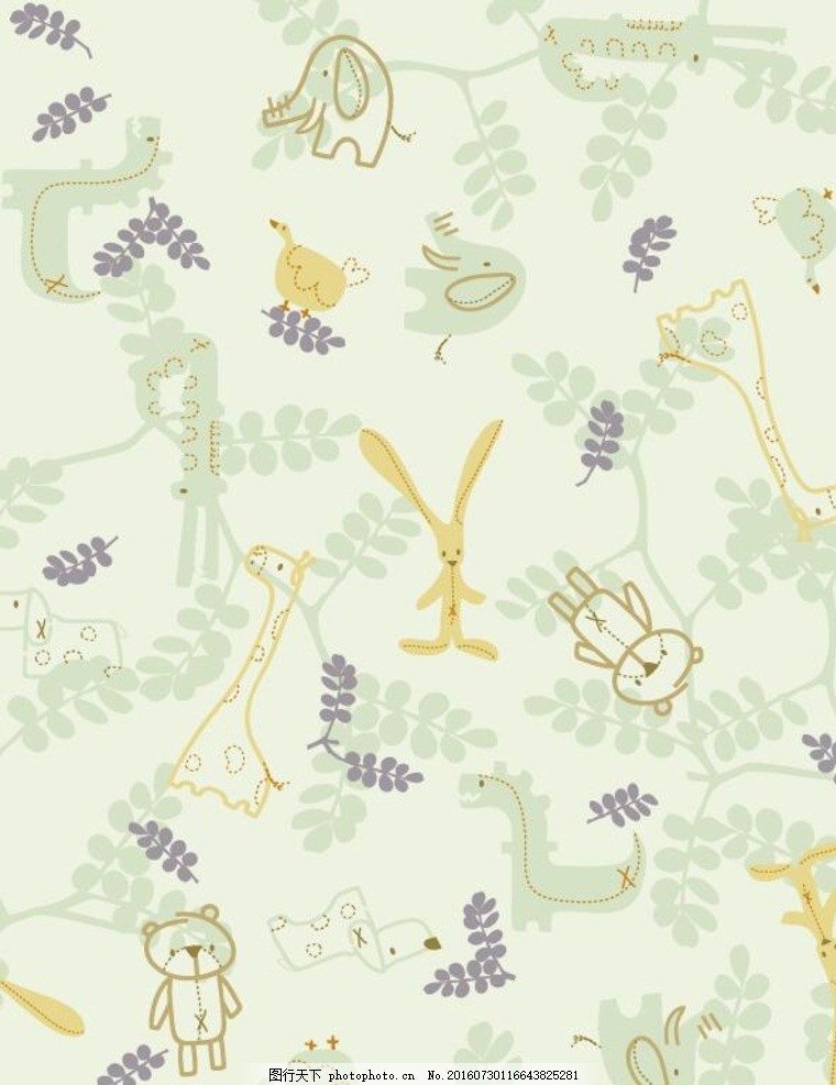 可爱小动物背景底纹矢量图,卡通墙纸设计 淡绿色背景
