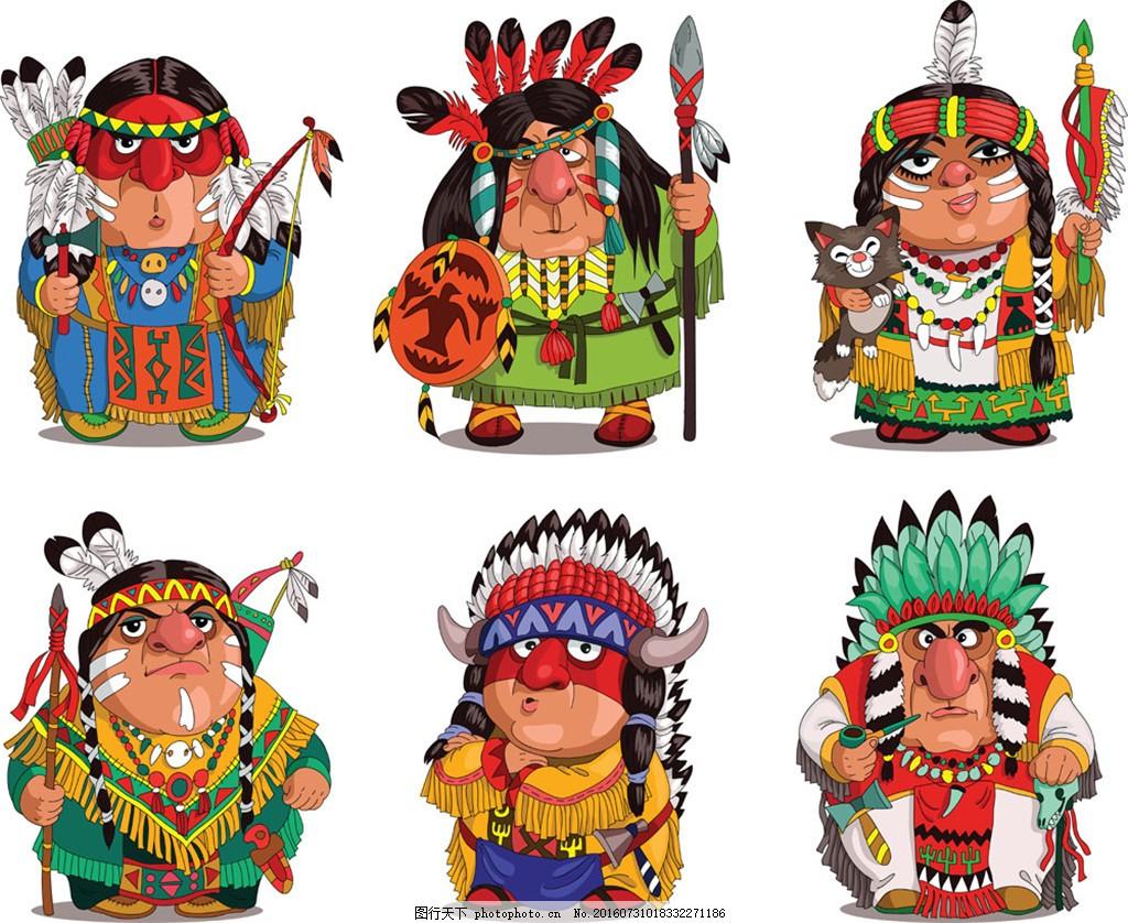 卡通土著男女 卡通 土著 男人 女人 印弟安 卡通人物 外国人 矢量人物