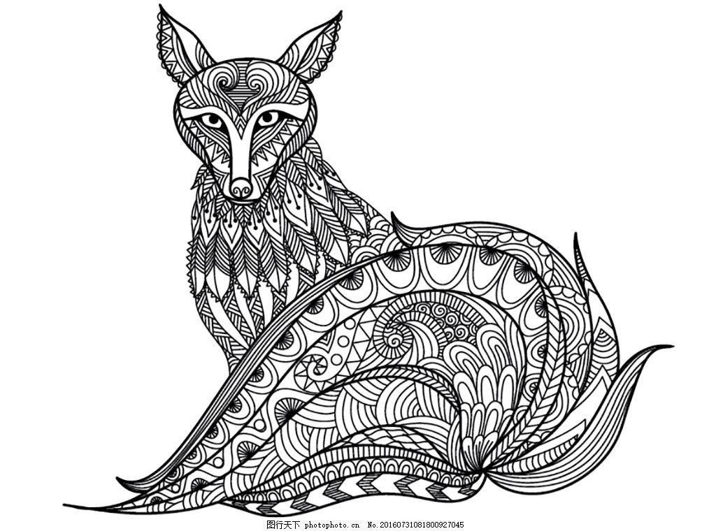 矢量 线稿图 动物 狐狸