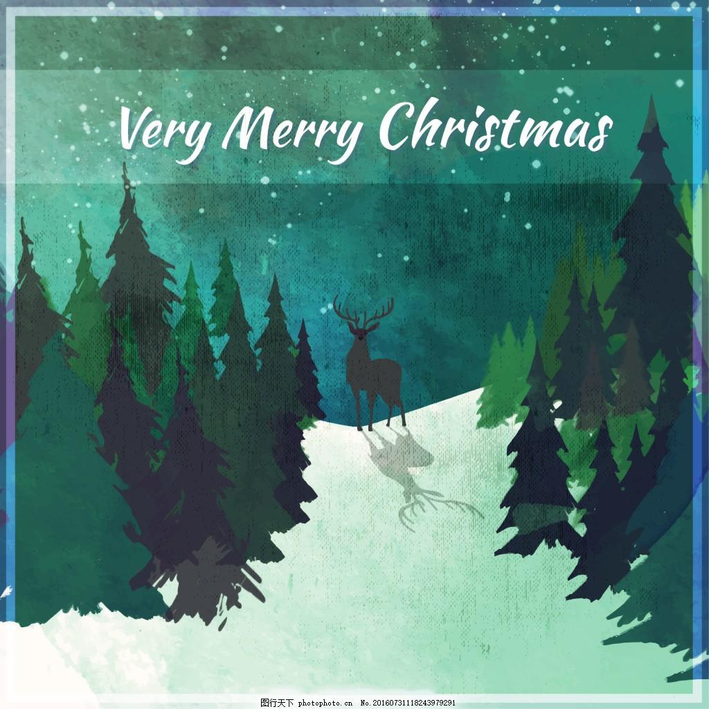 水彩圣诞背景与鹿 水彩背景 水彩风景 森林
