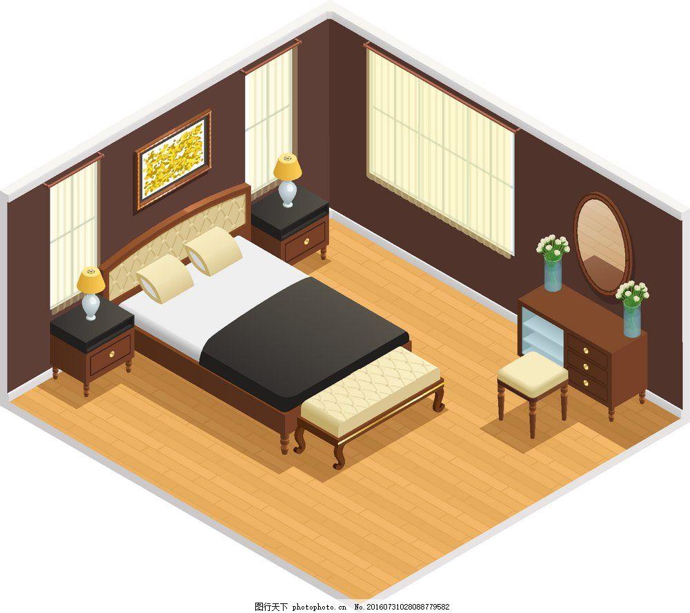 3d卧室效果图 3d      效果 俯视图 豪华