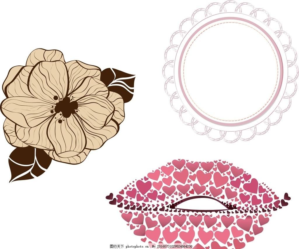素材 唯美 婚礼花纹素材 矢量 圆形花纹 古典花纹 复古 黑白圆形花纹