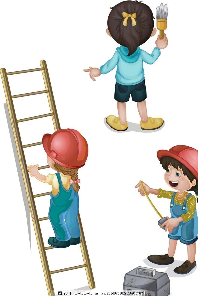 建筑工人 工地 手绘素材 儿童素材 卡通 矢量 抽象 卡通人物