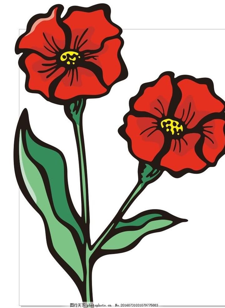 芙蓉葵 芙蓉花 红色 线描画 素描 盆栽 植物 花卉 花朵 草木