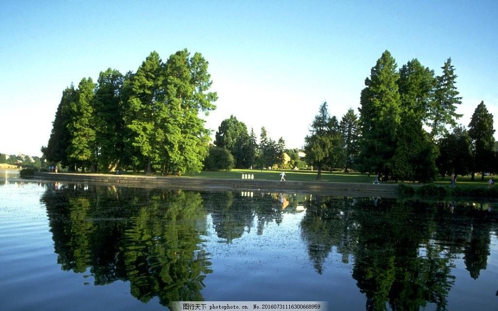 高清山水风景图片素材下载 绿色山水 背景 树木 湖水 湖面