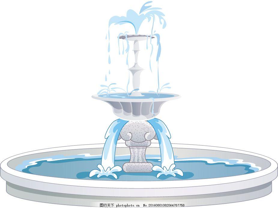 卡通喷泉 建筑 手绘 矢量 欧式 公园 白色