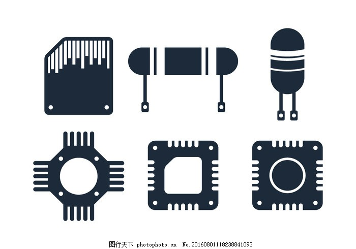 电子芯片图标 微芯片 系统 技术 背景 网络 晶体管 电阻 集成