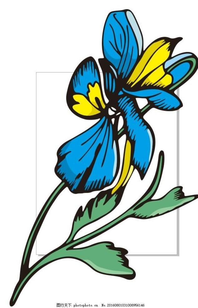 蓝色的花 线描画 素描 盆栽 植物 花卉 花朵 草木 艺术插画