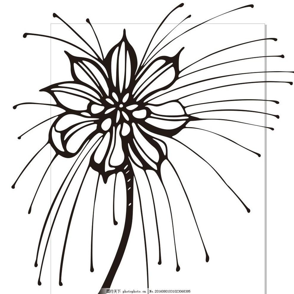 抽象花 线描画 素描 盆栽 植物 花卉 花朵 草木 艺术插画 插画