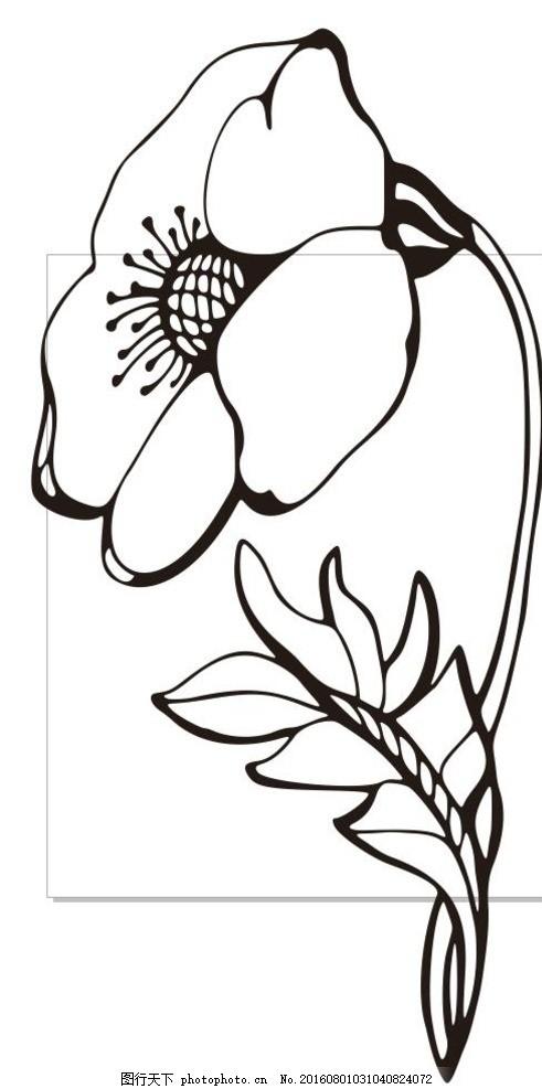 黑白植物线描装饰画_植物 树木 草木 艺术插画 插画 装饰画 简笔画 线条 线描 简画 ...