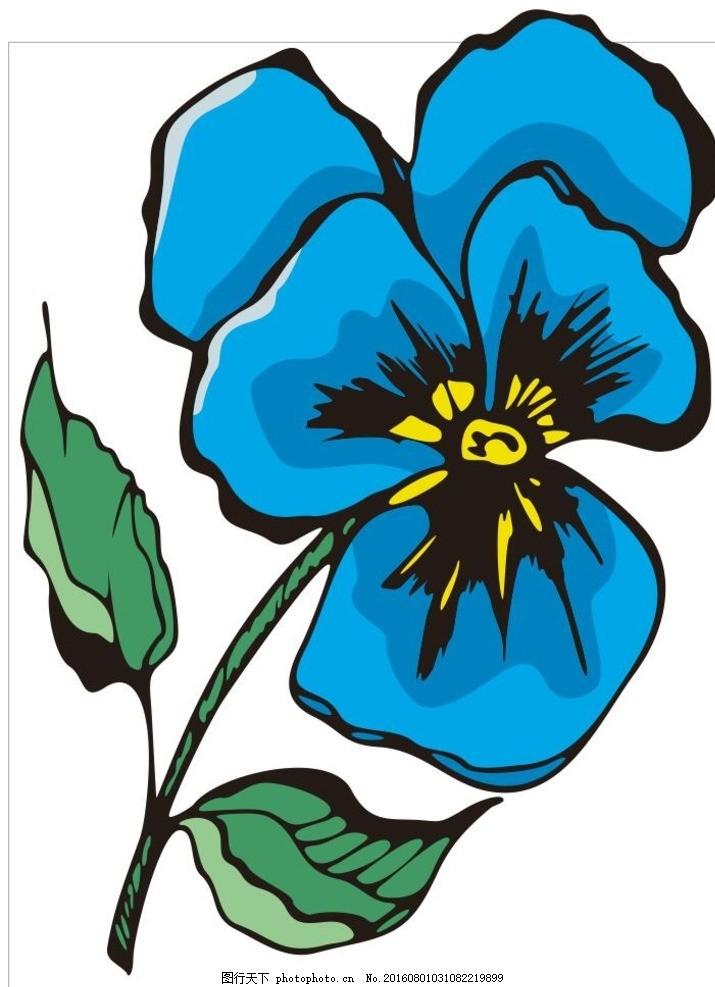 三色堇 线描画 素描 盆栽 植物 花卉 花朵 草木 艺术插画 插画