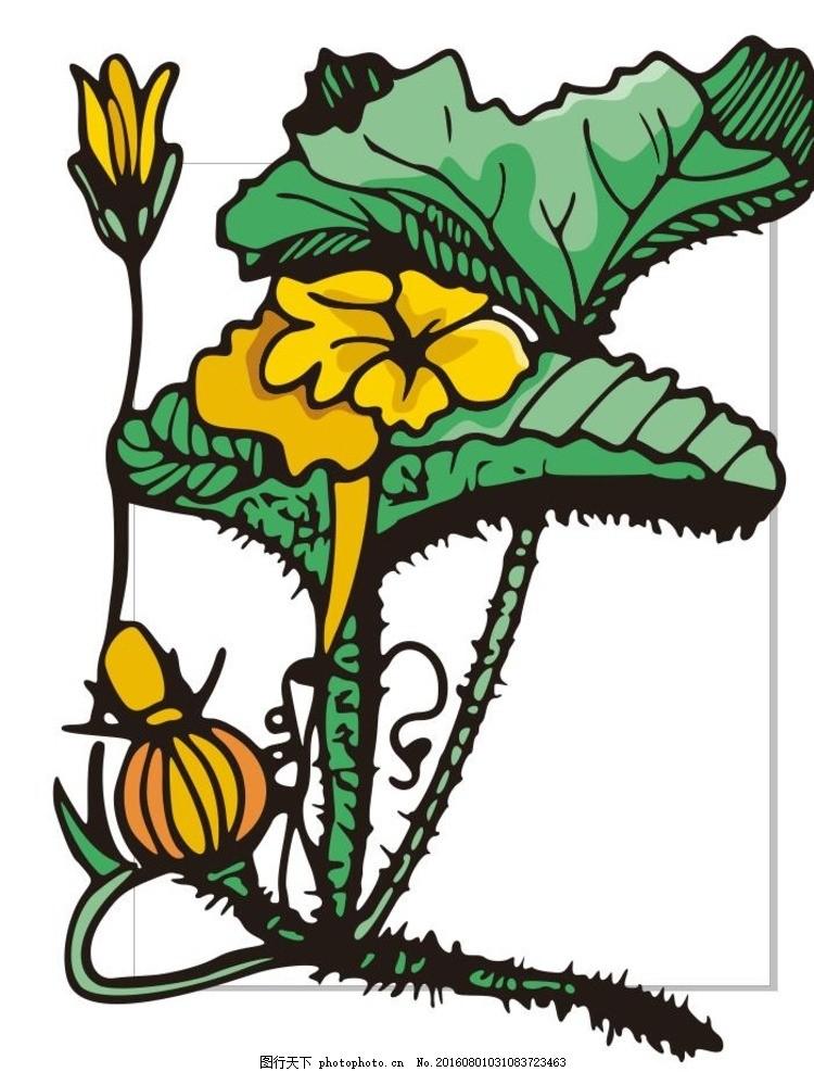 植物花朵 线描画 素描 盆栽 花卉 草木 艺术插画 装饰画 简笔画
