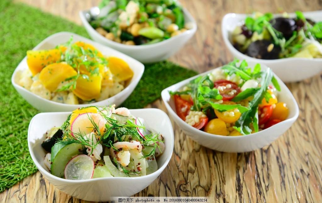 水果沙律 鲜果 蔬菜 裸麦 坚果 有机食物 摄影图片