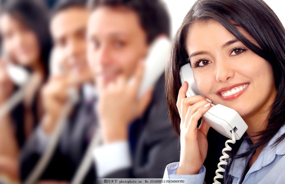 接电话的客服图片素材 客服 外国人物 接电话 微笑 工作 商务人士
