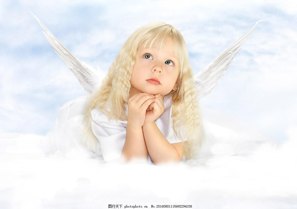 可爱天使女孩图片素材 外国儿童 小孩子 小女孩 天使女孩 可爱小天使