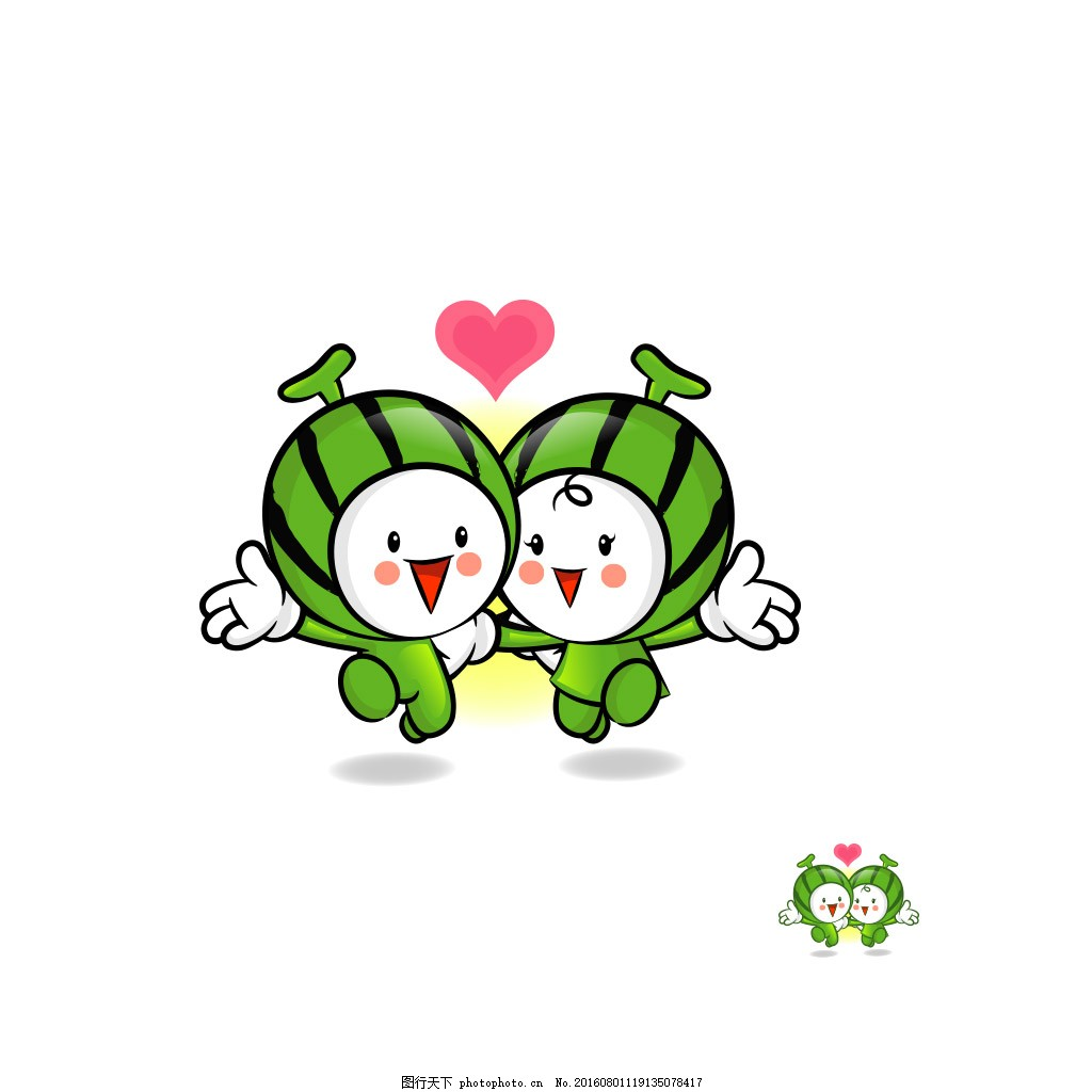 西瓜娃娃 可爱 卡通 西瓜 娃娃 小孩 儿童 爱心 心形 心型 psd 白色