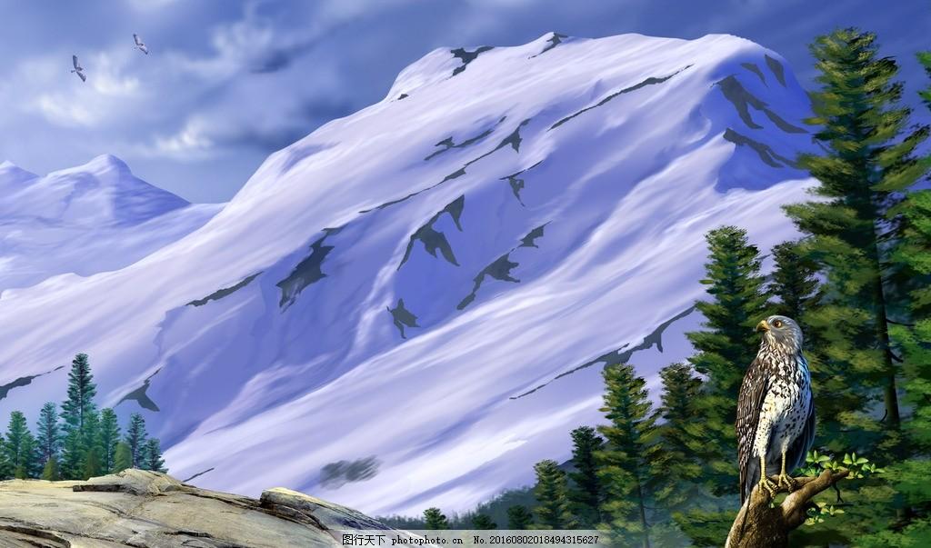 郊外悬崖雪山老鹰 郊外 悬崖 雪山 老鹰 卡通素材 设计 动漫动画 风景