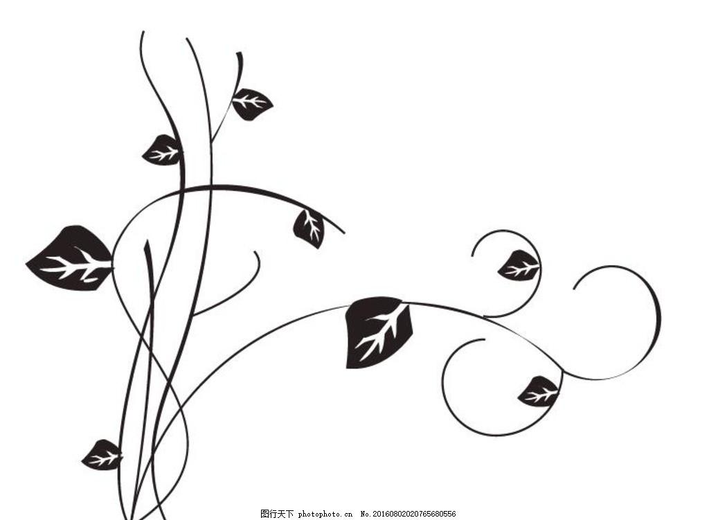 藤草剪贴画 手机壳图案 卷草纹 抽象 几何 手绘 叶子 藤 绘画艺 黑白