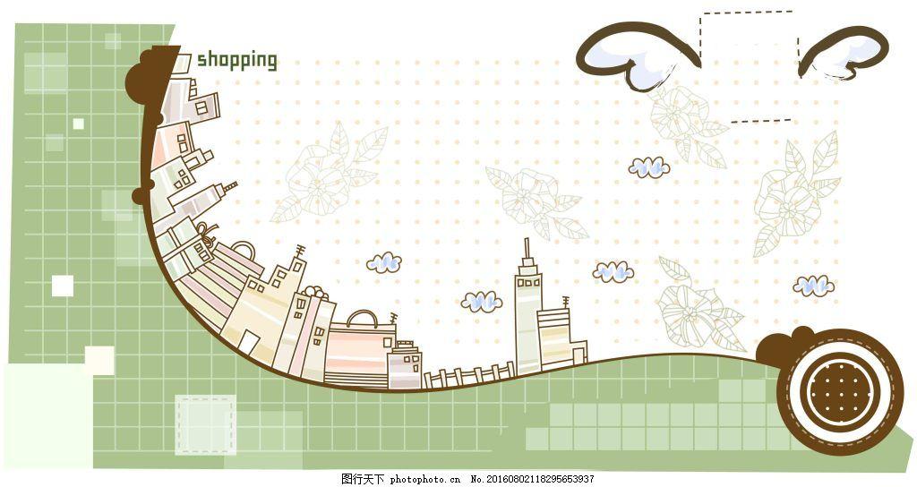 手绘线描马赛克背景 时尚 都市 人物 矢量 手绘 线描 图案 背景 英文
