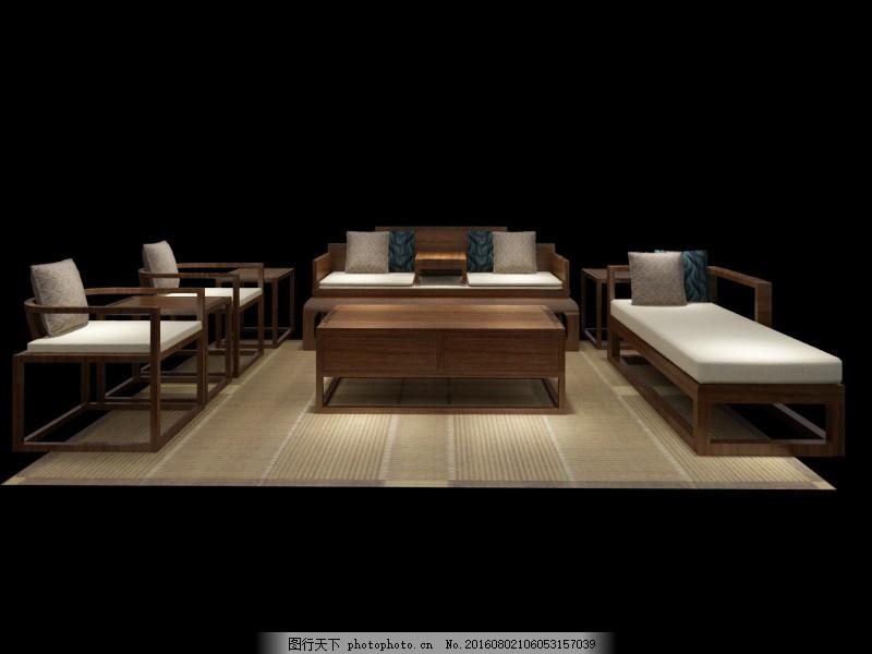 新中式沙发3d模型图片