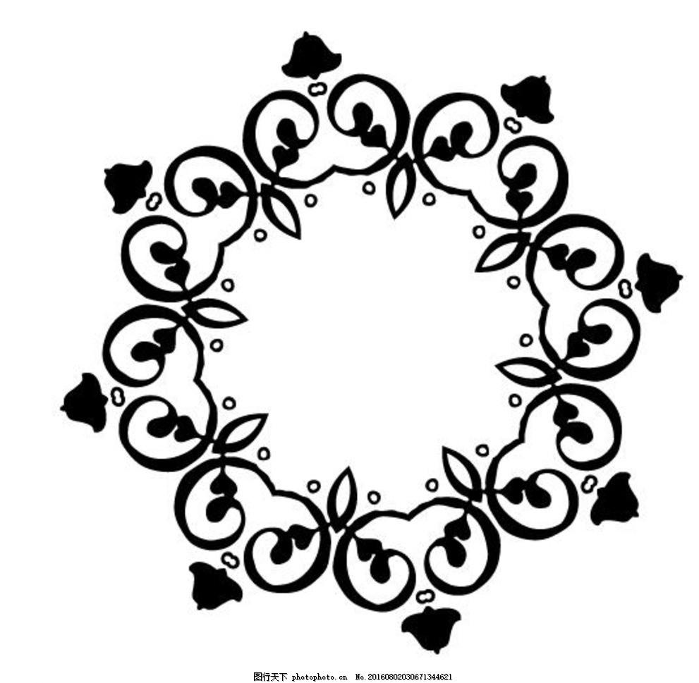 边框相框 框架 花纹 圆形 矢量图 创意设计 设计 广告设计 黑白圆形
