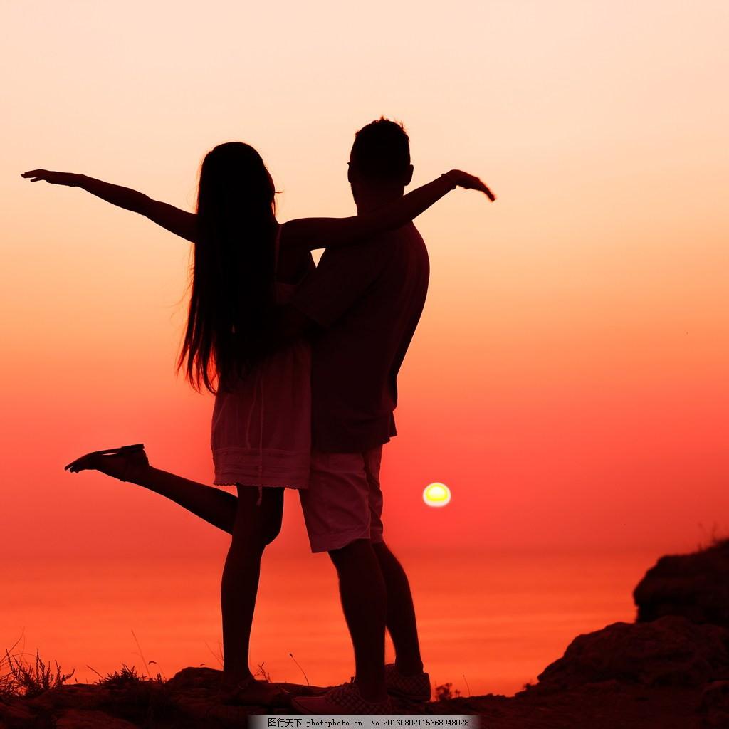 浪漫情侣 黄昏 情侣风景 黄昏云 云彩 拥抱