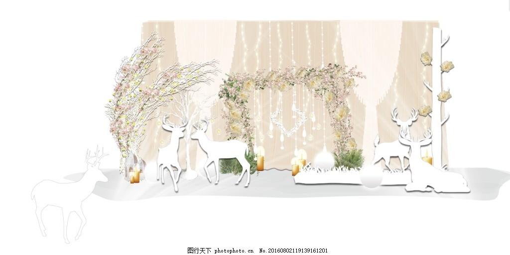 婚礼留影区合影区迎宾区 小鹿 裸色 森系 小清新 白色