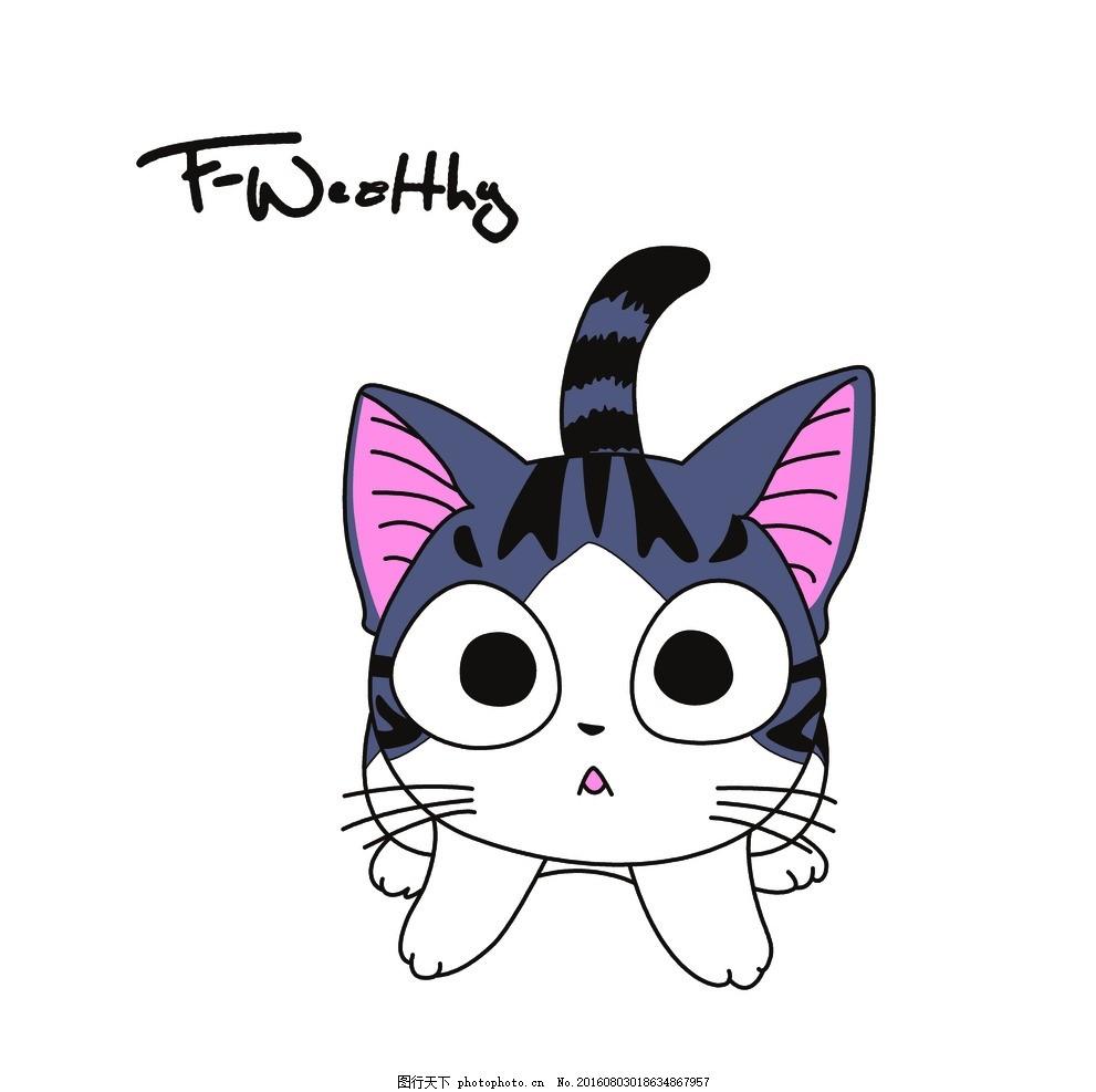 卡通猫 可爱卡通画 猫咪 动漫动画