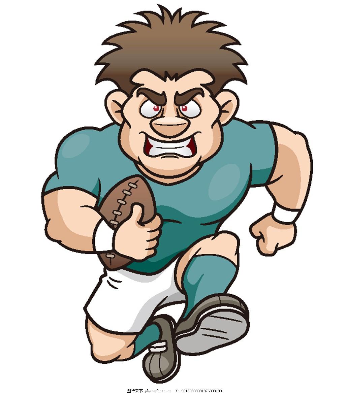 卡通橄榄球运动员 拟人化动物 卡通 漫画人物 平面素材 设计 广告设计