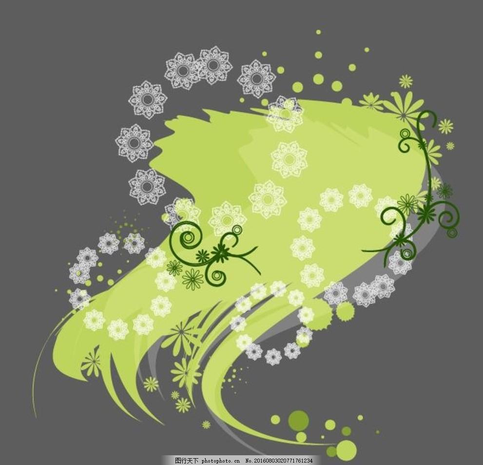 绿色圆形藤类植物花纹矢量素材 青色 色彩 印花矢量图 黑色 面料图库