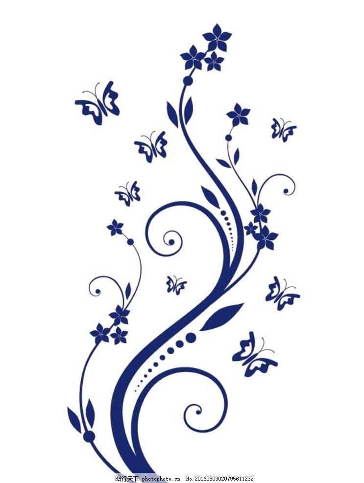艺术花纹纹身 蝴蝶 花朵 藤蔓 花纹 藤条花纹矢量 纹身图案 花纹图案