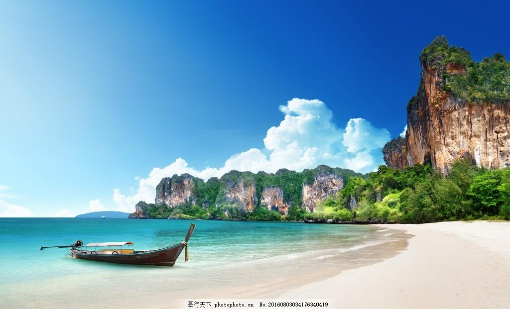 小船 游船 船只 海洋 海边 沙滩 大海 清澈 梦幻 天堂 世外桃源 椰子