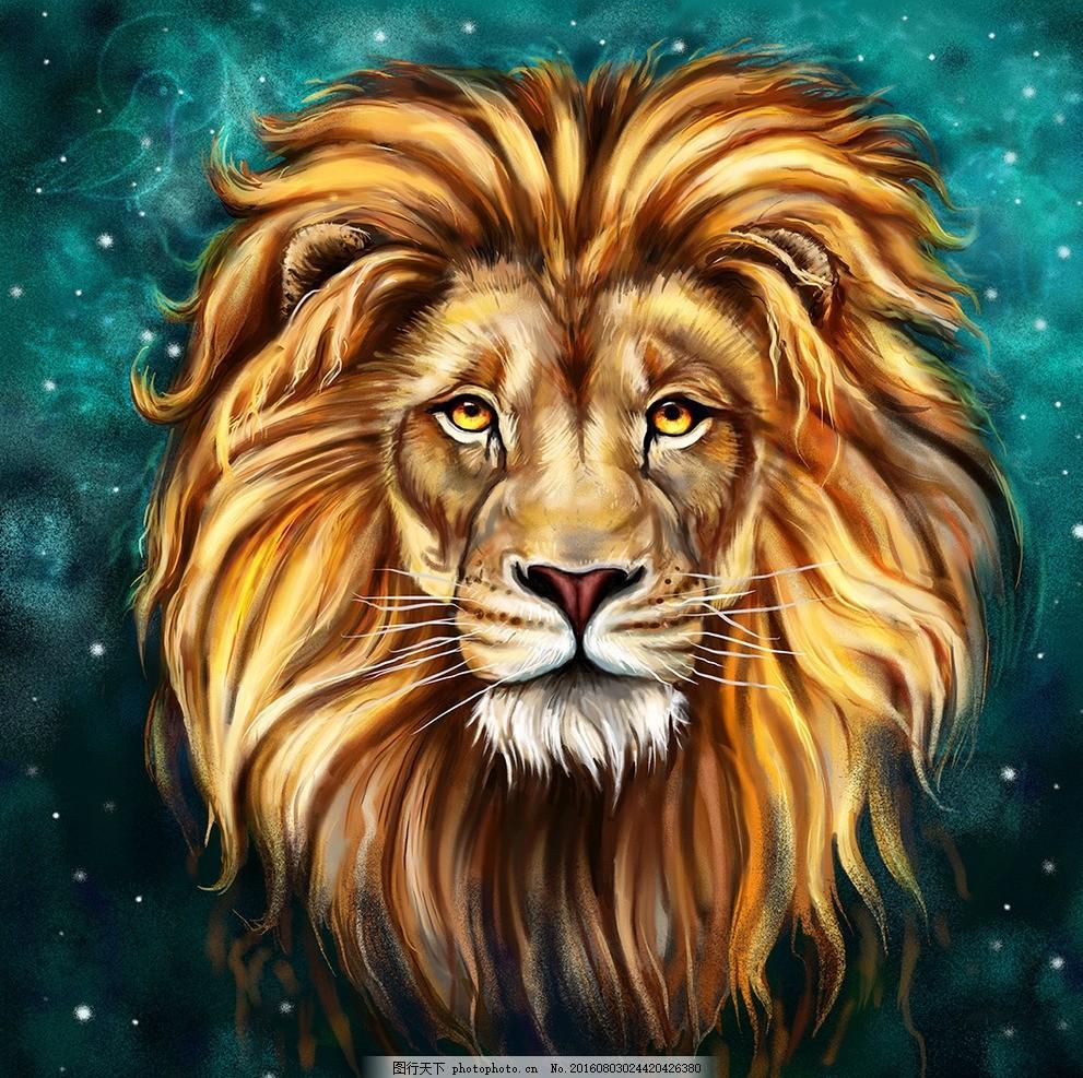 狮子 鼠绘狮子 手绘 鼠绘 手绘动物 动物 威严 手绘狮子头 手绘毛发