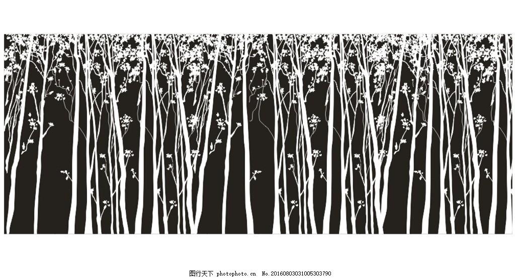 树林 矢量图 黑白图 小树 背景 硅藻泥 设计 广告设计 其他 cdr