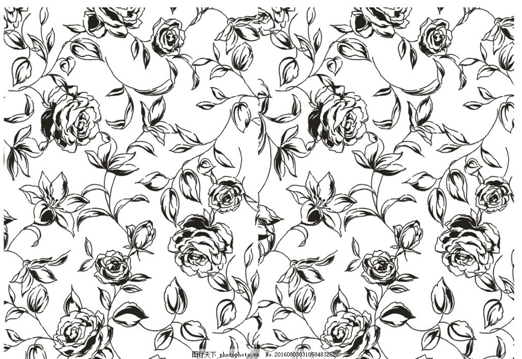 牡丹 硅藻泥 背景 电视墙 藤蔓 花 黑白花纹