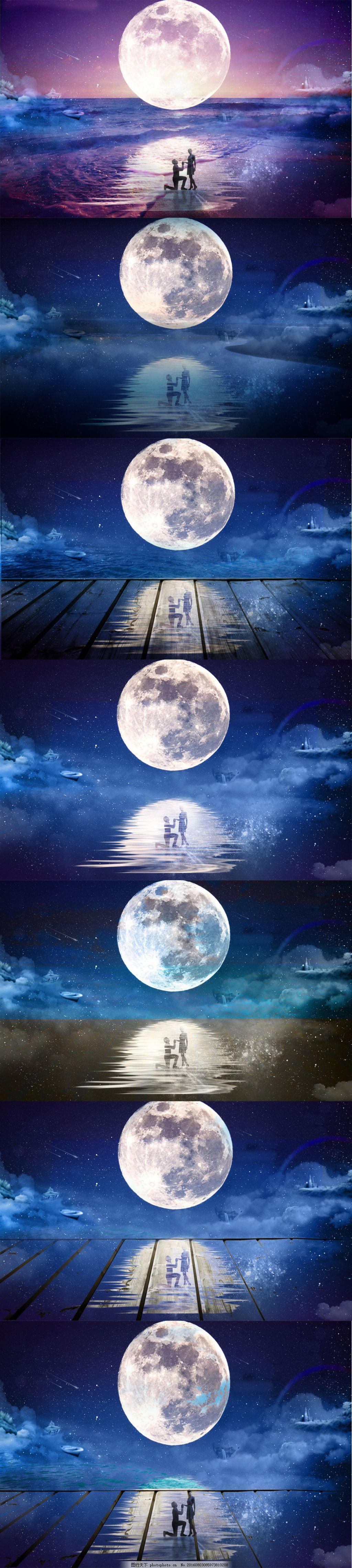 中秋创意图片见证爱情 月亮 星空 男人 女人 接吻 梦幻 奇幻