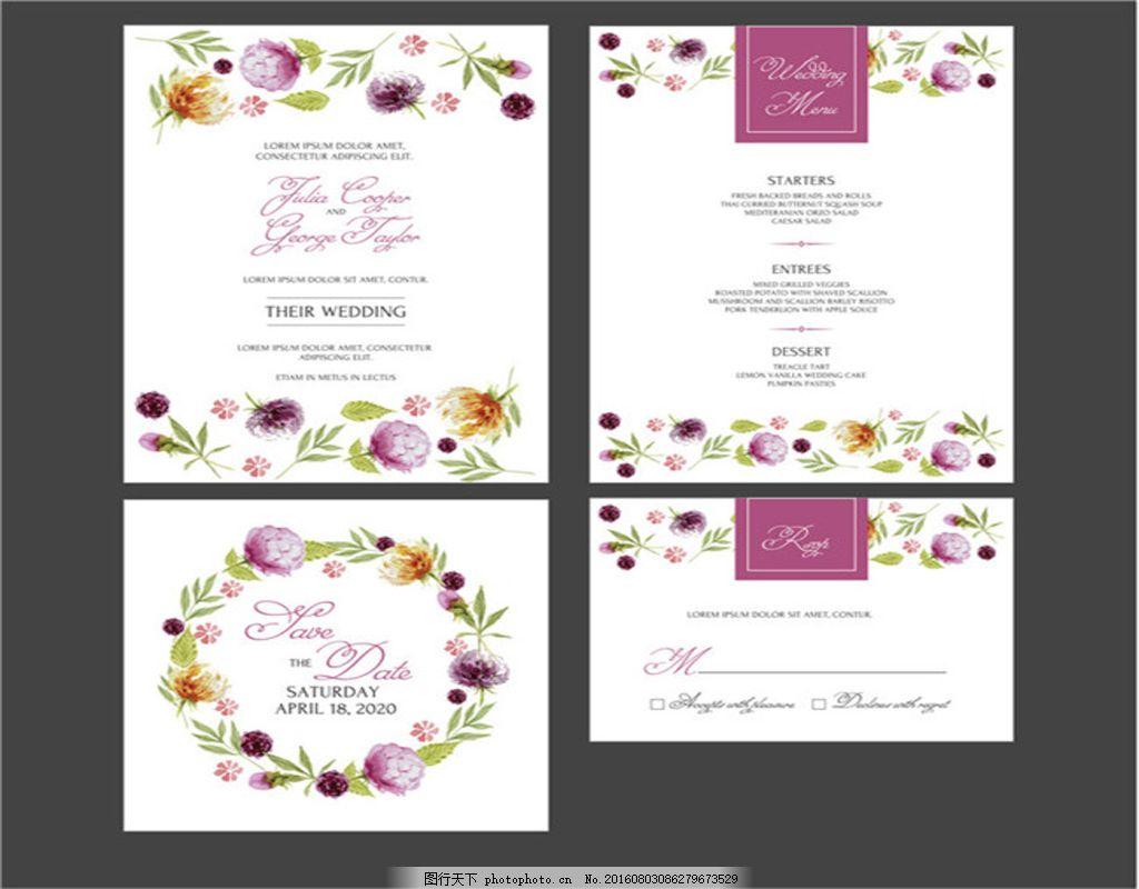手绘水彩花环婚礼邀请卡 感谢卡 请柬 紫色花朵 请柬感谢卡 森系