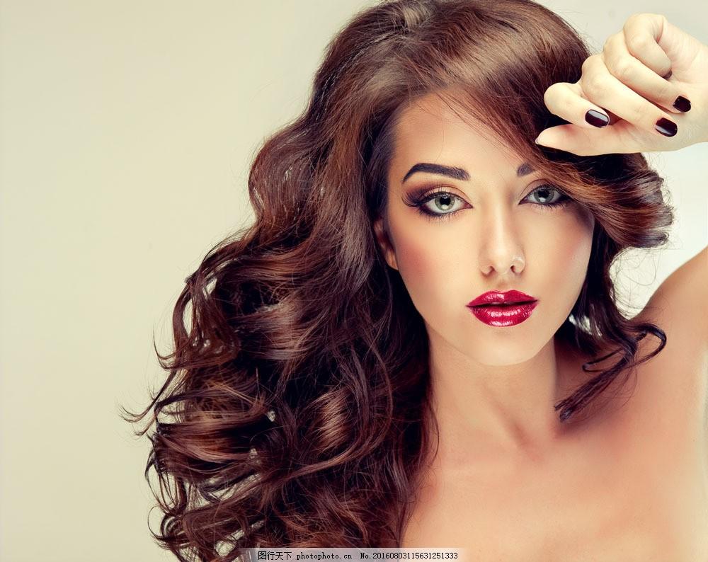 人物  卷发女人艺术照图片素材 卷发美女艺术照 性感美女模特 美发图片