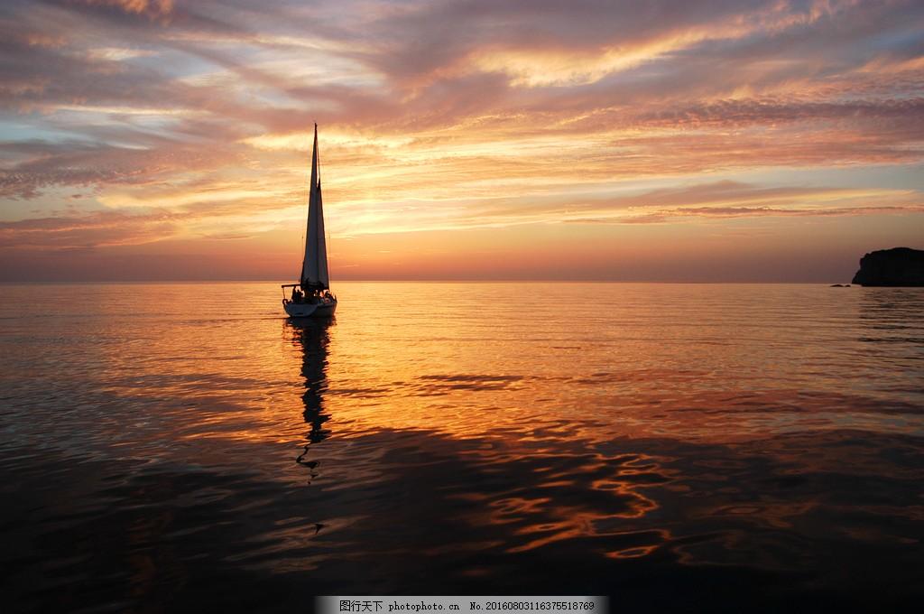 大海 黄昏 帆船 一帆风顺 黄昏云 海水
