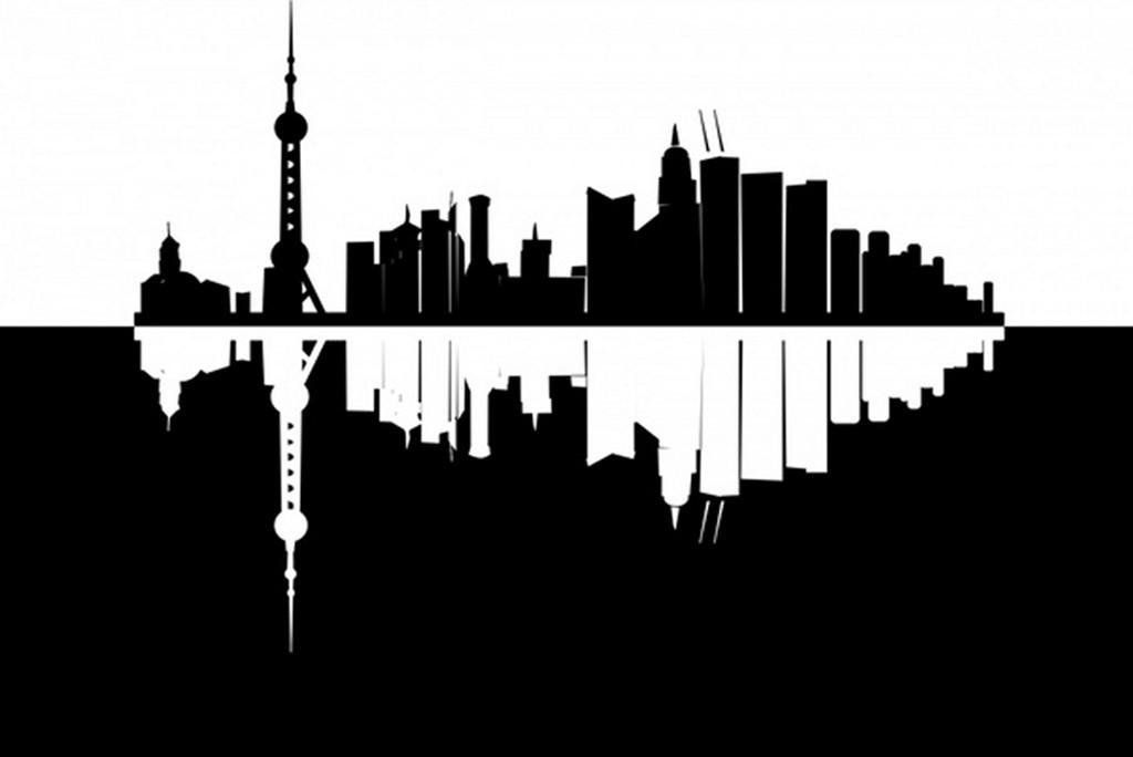 城市剪影矢量图 建筑 上海东方明珠